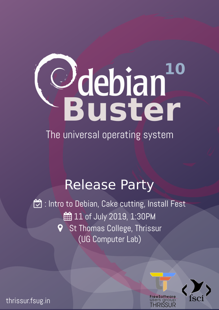 Debian Buster Release Party by FSUG Thrissur